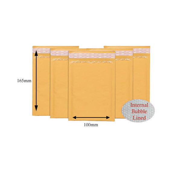 100 x Gold Postal Bubble Envelopes 100mm x 165mm (A/000)