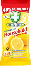 Green Shield Antibacterial 70 Large Wipes - Pack of 6