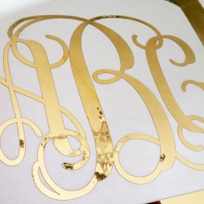 Custom gold chrome vine monogram die cut decal sticker