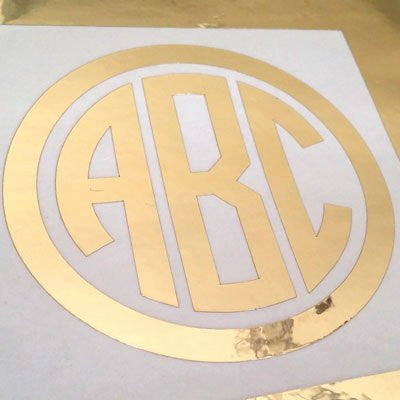 Custom Gold Chrome Circle Monogram Die Cut Decal Sticker