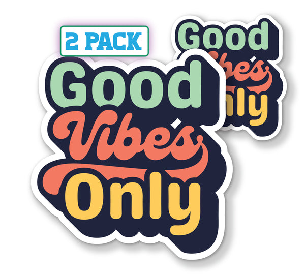 "Vintage Style Good Vibes Only Decals (2 Pack) (5"" and 3"")"