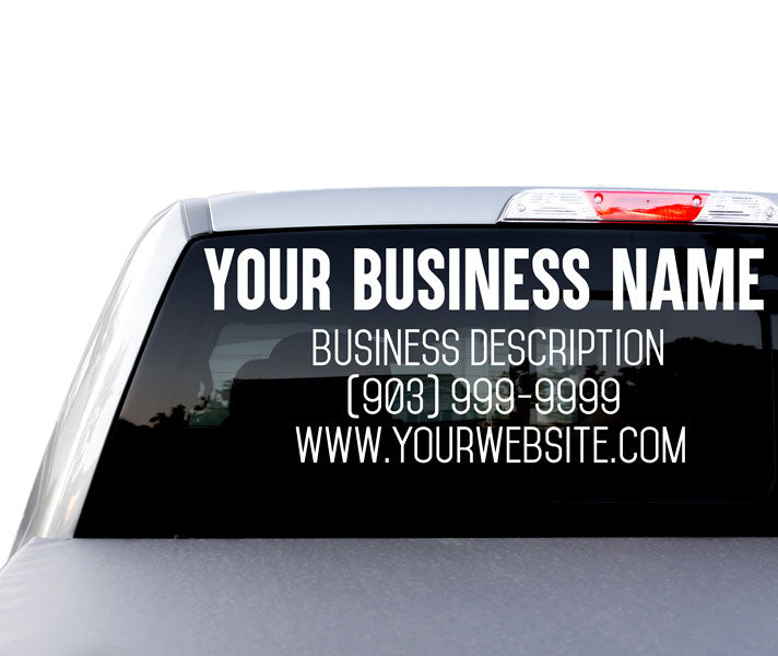 Custom Large Rear Windshield Business Advertisement Decal