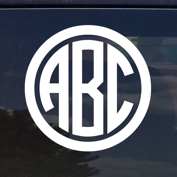 Custom Circle Monogram Die Cut Decal Sticker