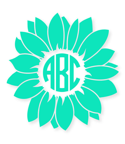 Custom Flower Circle Monogram Die Cut Decal Sticker