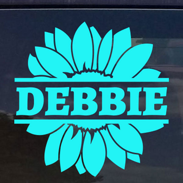 Custom Text Flower Circle Die Cut Decal Sticker