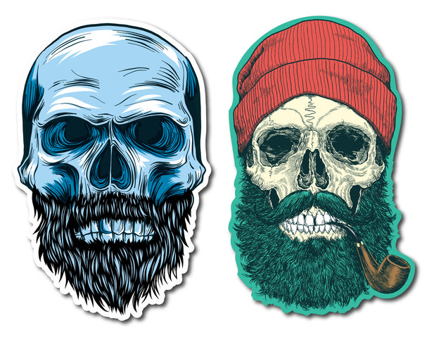 "Hipster Beard Skull Decals (2 Pack) (5"" and 3"")"