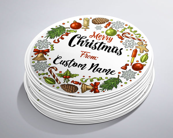 Custom Name Christmas Circle Sticker  (25 Pack)