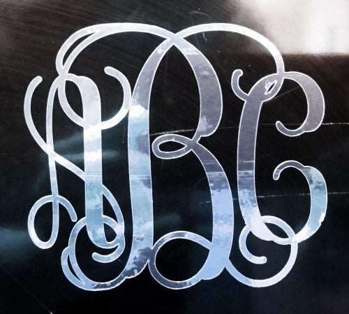 Custom Silver Chrome Vine Monogram Die Cut Decal Sticker