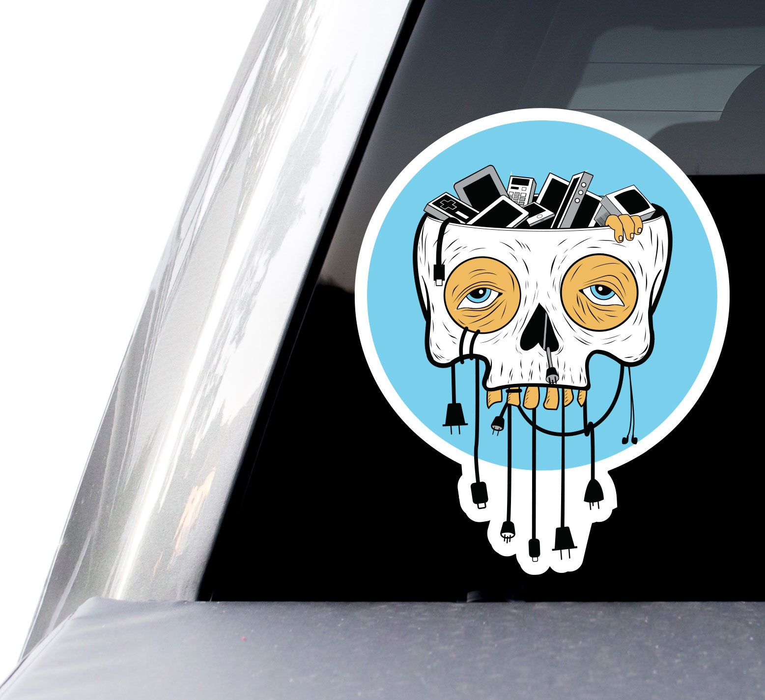 "Tired Skull Wires Device Decals (2 Pack) (5"" and 3"")"