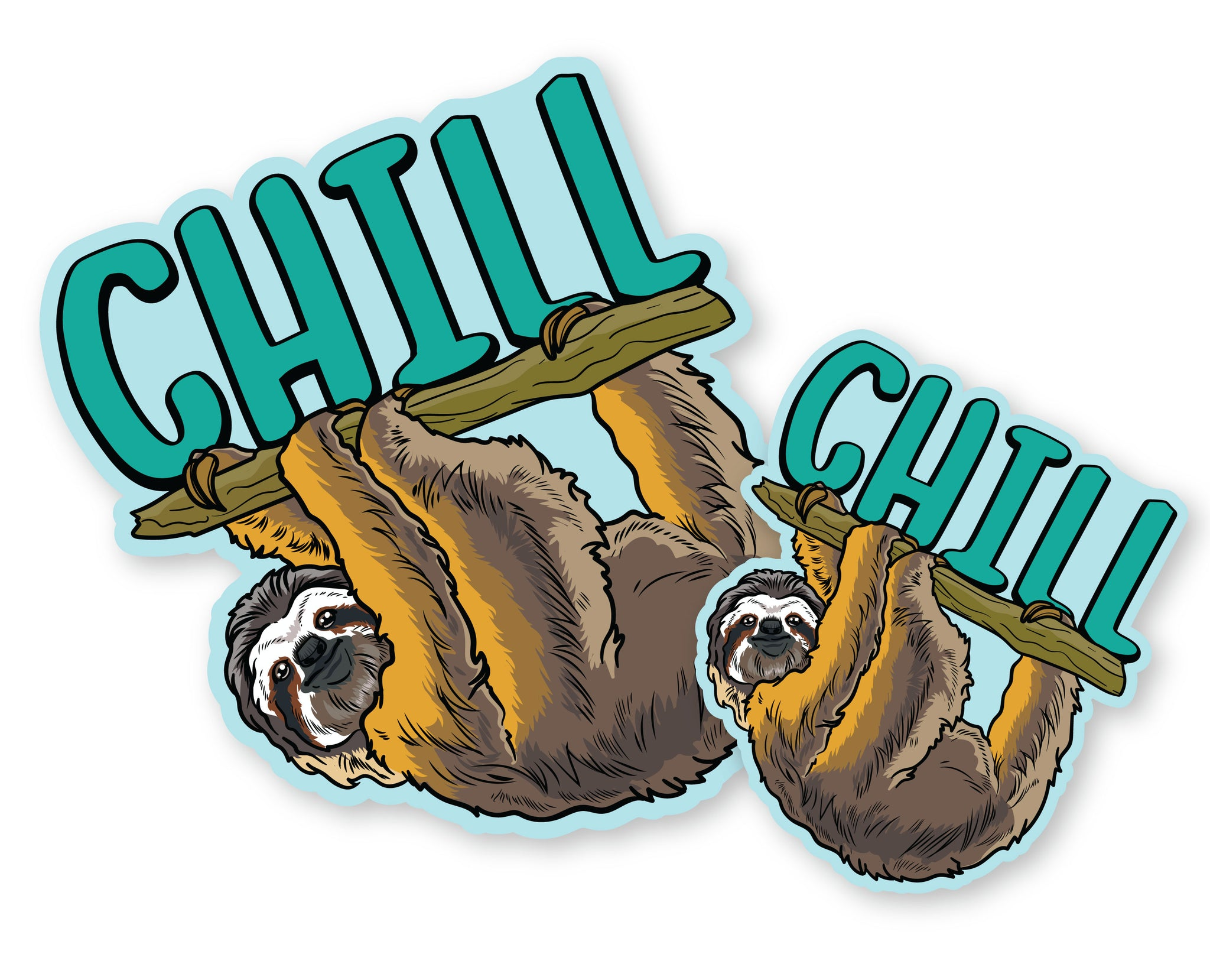 "Sloth Chill Decals (2 Pack) (5"" and 3"")"