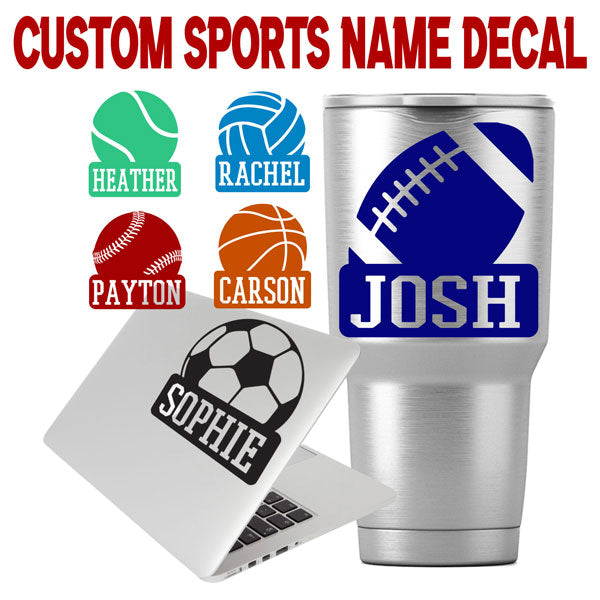 Custom Sport Text Decal for Cups, Phones, Cars, Windows, Laptops, School Supplies, Coolers, etc.