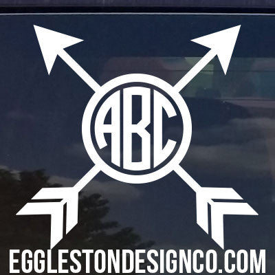 Custom Crossed Arrow Monogram Decal for Yeti Cups, Cars, Laptops, etc