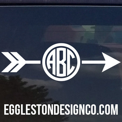 Custom Arrow Circle Monogram Decal for Yeti Cups, Laptops, Cars, etc.