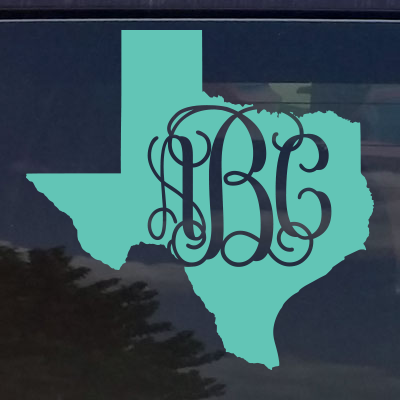 Custom Texas Vine Monogram Die Cut Decal Sticker