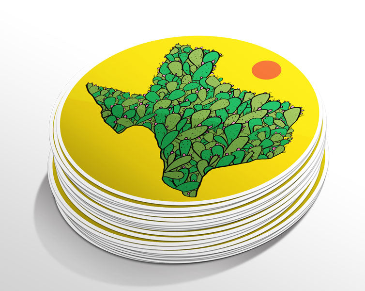 Texas Cacti Circle Sticker (5 Pack)