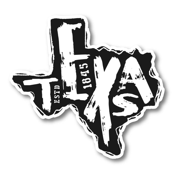 "Texas Est. 1845 Decals (2 Pack) (5"" and 3"")"