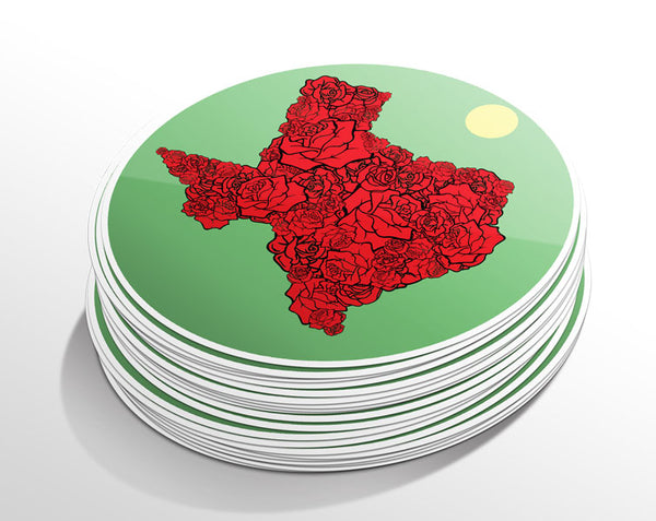 Texas Rose Circle Sticker (5 Pack)