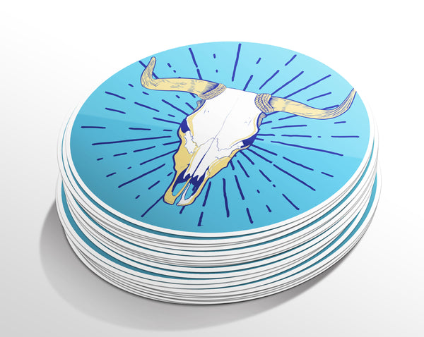 Cow Skull Circle Sticker (5 Pack)