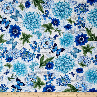 Blue Butterfly Floral Travel Blanket - Lifetime Sensory Solutions
