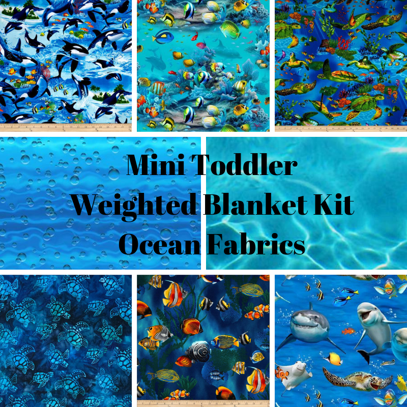 Mini Toddler Weighted Blanket Kit, Ocean Fabrics - Lifetime Sensory Solutions