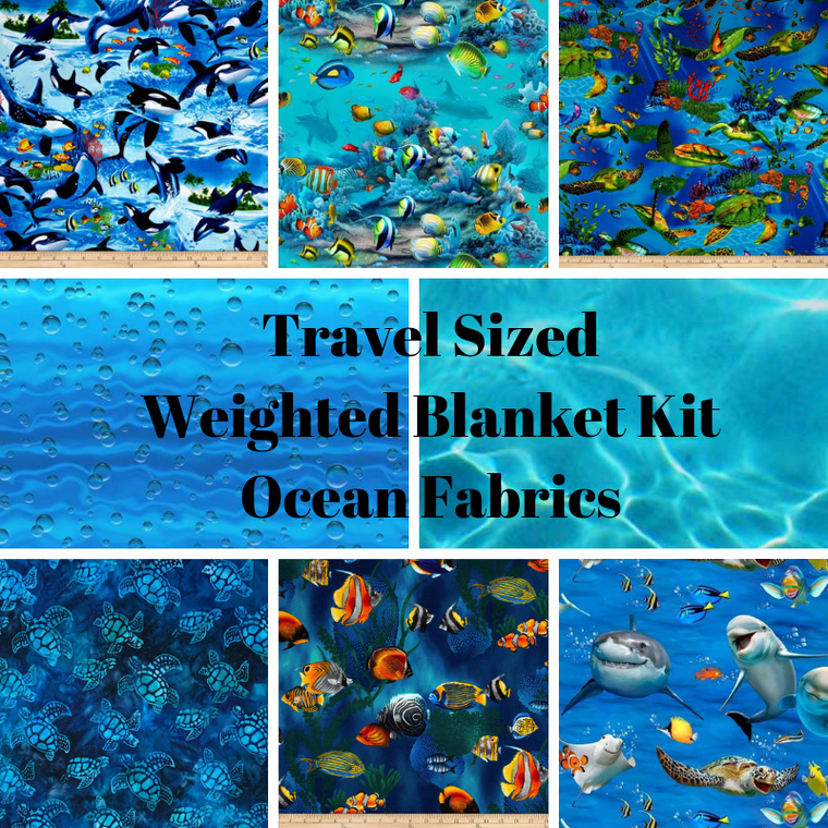 Travel Sized Weighted Blanket Kit, Ocean Fabrics