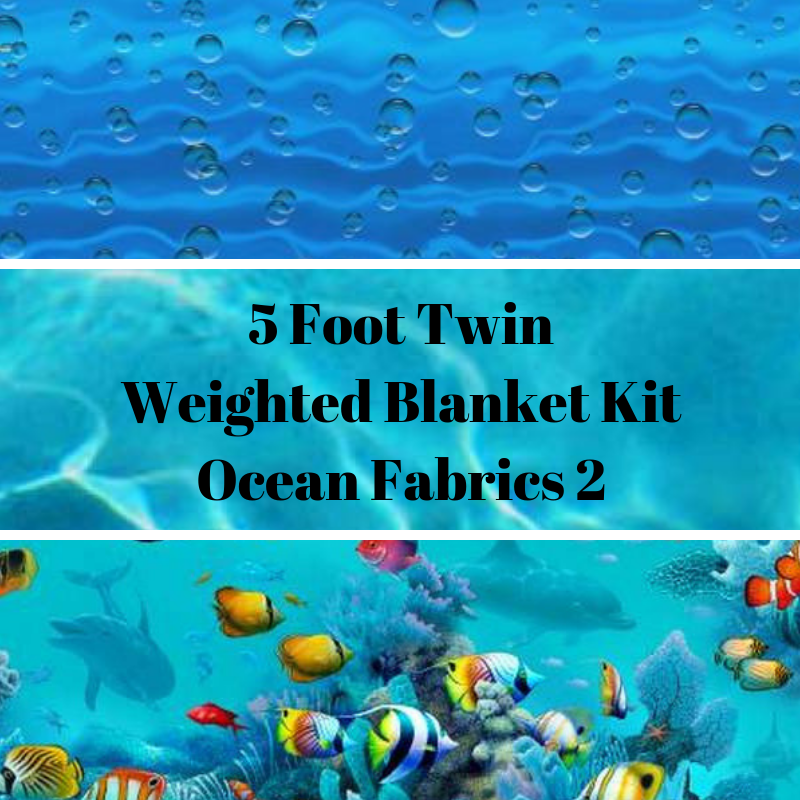 5 Foot Twin Weighted Blanket Kit, Ocean Fabrics 2 - Lifetime Sensory Solutions