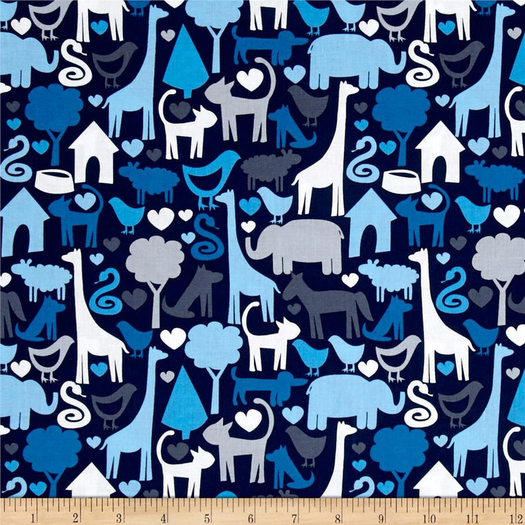 Animal World Blue Mini Toddler Blanket