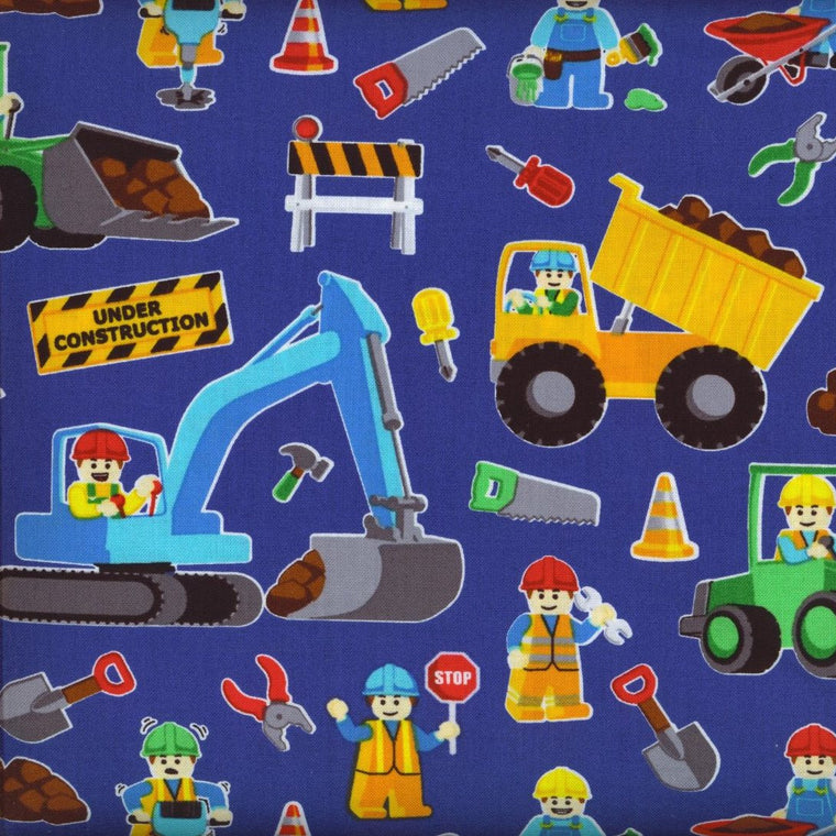 Construction Blue Mini Toddler Blanket
