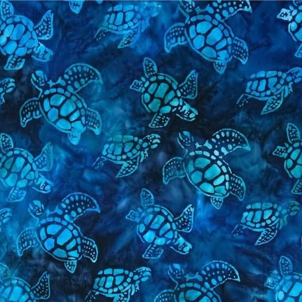 Dark Blue Turtles Batik Mini Toddler Blanket - Lifetime Sensory Solutions