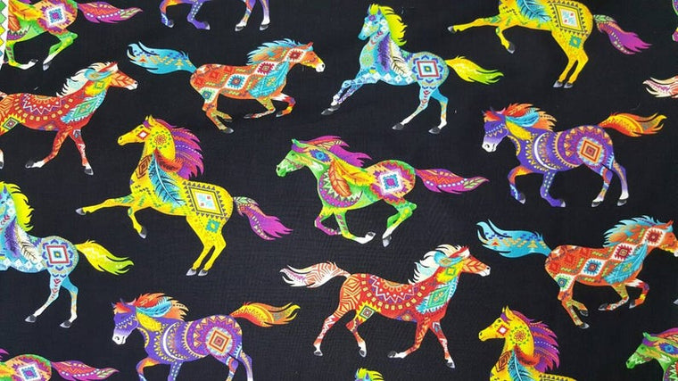 5 Foot Twin Southwest Colorful Horses - Lifetime Sensory Solutions