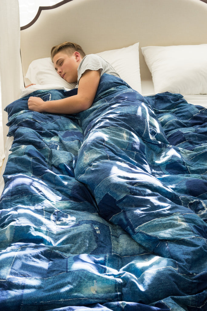 Denim Patchwork Print Full Size Weighted Blanket - Lifetime Sensory Solutions
