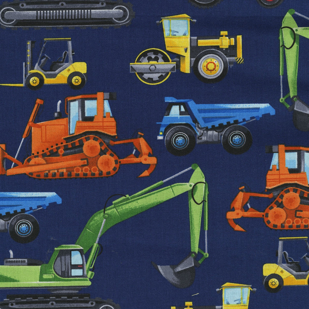 5 Foot Twin Navy Construction Trucks - Lifetime Sensory Solutions