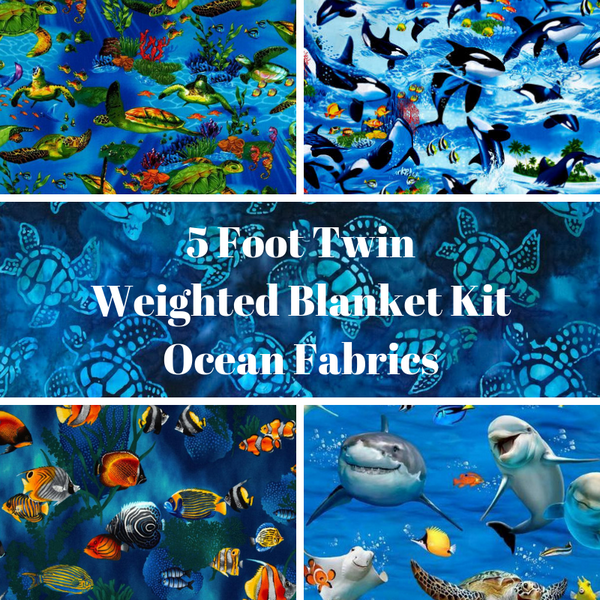5 Foot Twin Weighted Blanket Kit, Ocean Fabrics - Lifetime Sensory Solutions