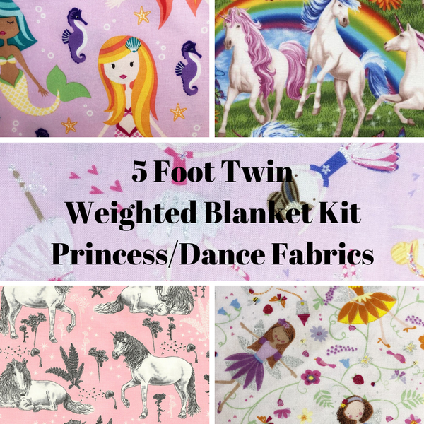 5 Foot Twin Weighted Blanket Kit, Princess/Dance Fabrics - Lifetime Sensory Solutions