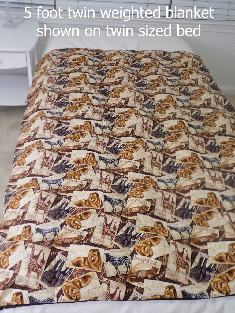 5 Foot Twin Safari Map Weighted Blanket - Lifetime Sensory Solutions