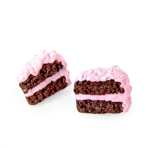 Chocolate Cake & Pink Icing Earrings
