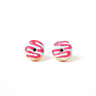 Raspberry Drizzle Donut Earrings