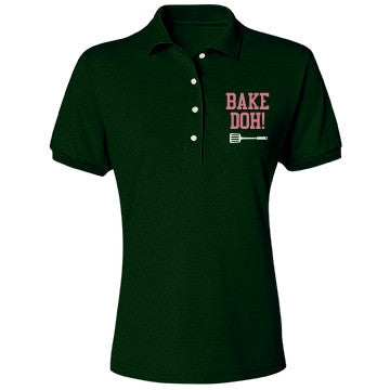 Forest Green Pink Bubblegum Bake Doh Polo Shirt