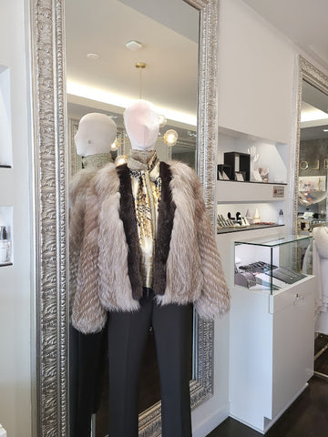Fox Fur & Mink Fur Trim Jacket