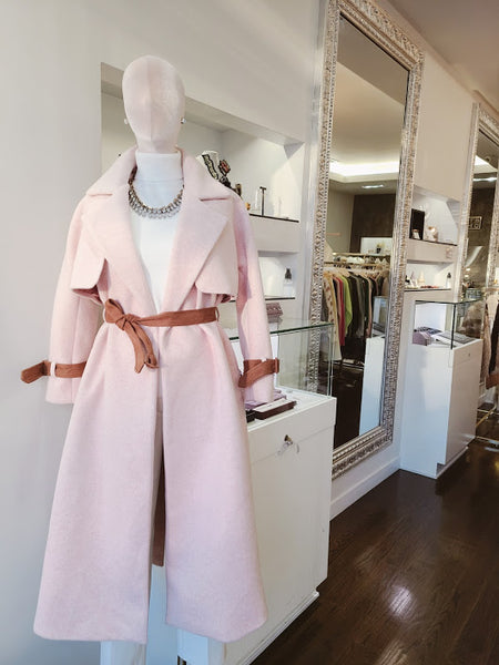 CHALK PINK WOOL BLEND COAT