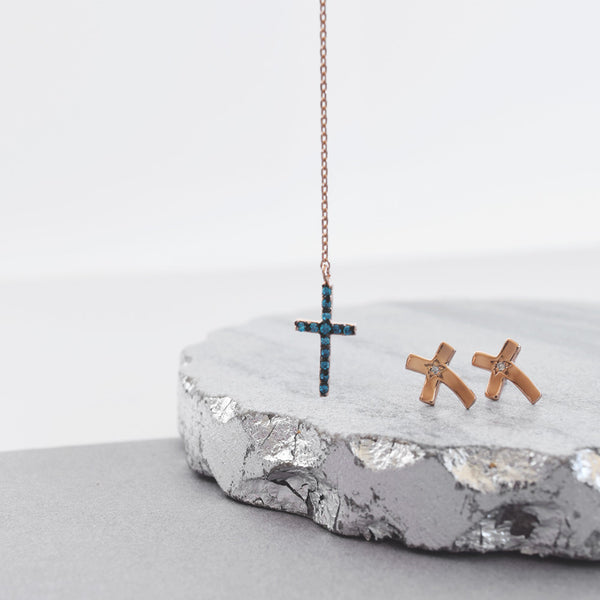Blue Cross Y-Neck & Studs Set Sterling Silver - anelarevese - 1