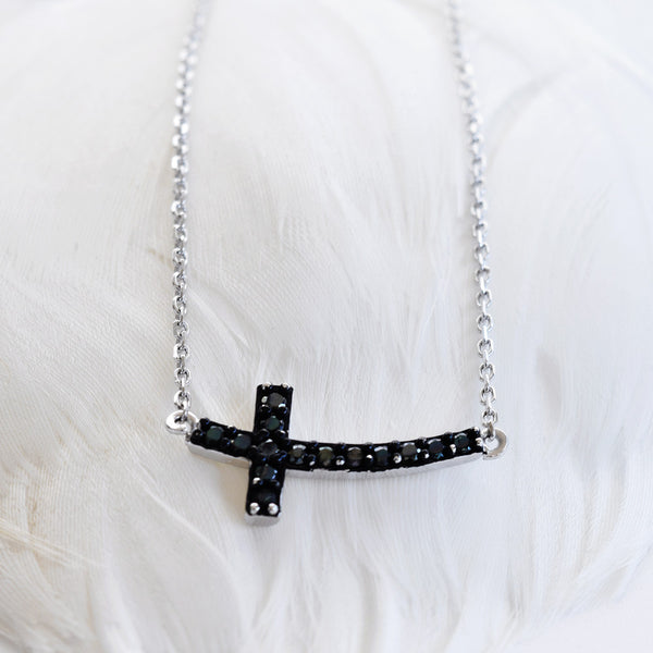Black Cross Necklace Sterling Silver - anelarevese - 2