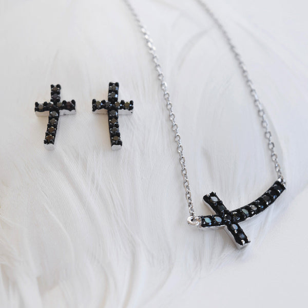 Black Cross Necklace Sterling Silver - anelarevese - 3