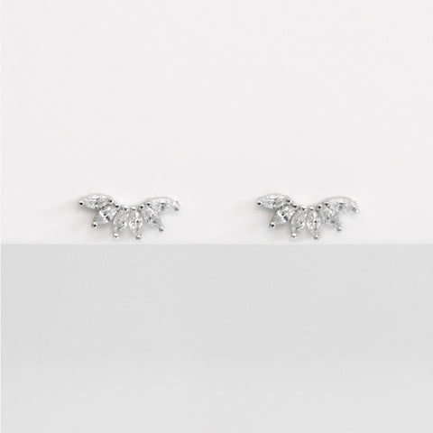 - A| Clear Crown Studs Sterling Silver - anelarevese - 1