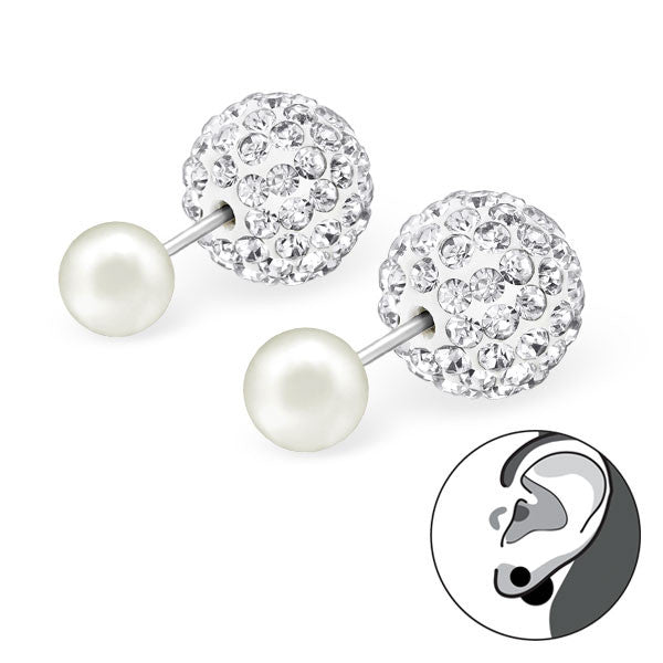 Z- Front & Back Studs Pearl w crystals - anelarevese - 2