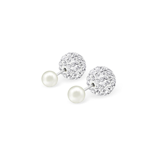 Z- Front & Back Studs Pearl w crystals - anelarevese - 1