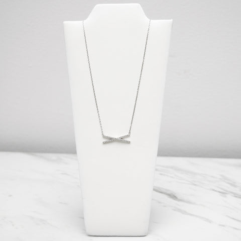- A| Gorgeous X Necklace with CZ Sterling Silver - anelarevese - 1