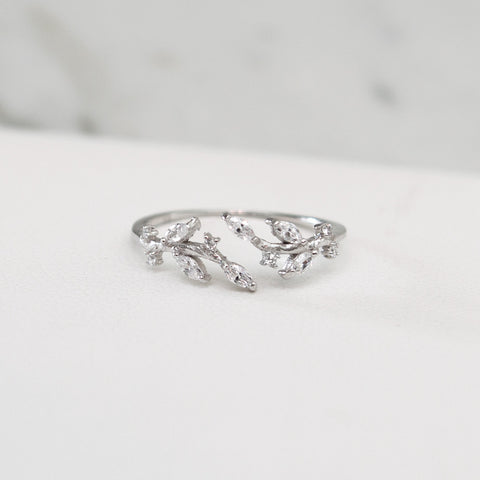 - A| Olive Leaf Open Ring Sterling Silver - anelarevese - 1
