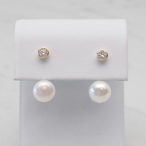 - A| Pearl and Gold Earrings Sterling Silver