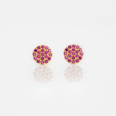 - C | Red & Gold Studs Sterling Silver - anelarevese - 1